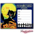 Vintage Retro Moonlit Kitty Cat Pumpkin Halloween Party Invitations Customized