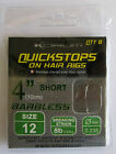 Korum Quickstops on Hair Rigs 4 inch Barbless Rigs for Carp Fishing & Free P+P