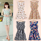Lady Womens Sundress Pattern Printed Casaul Summer Skirt Chiffon Dress Party New