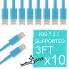 10x 8 Pin Sky Blue USB Data Sync Charger Cable Cord for iPhone SE 6s iPod Touch