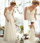 Stock V-neck Wedding Dress Bridal Gown Bridesmaid size:6 8 10 12 14 16