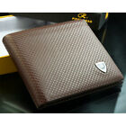 Mens Leather Wallet Checked Credit Card Holder Money Clips Billfold Pouch Purse