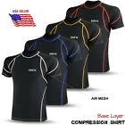 Mens Compression Base Layer Thermal Armour Top Half Sleeve Sports Gym Shirt Blk