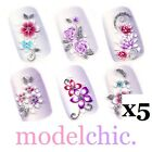 5x Blue Pink Purple Butterfly Flowers Rose Glitter 3D Nail Art Stickers Decal