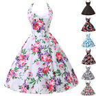 uk FREE SHIP~FLORAL 50s 60s ROCKABILLY VTG SWING TEA CLASSIC PROM DANCING DRESS