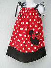 CSTMD Minnie Mouse Girls Pillowcase Dress Size 3T-9 Yrs Multi-color Red Black