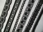 Black Flat Lace Various  pattern and widths   - choose