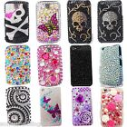 NEW BLING COOL FLOWER SKULL PINK DIAMANTE CASE COVER APPLE IPHONE 4S 5 5S 5C 6 7