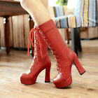 Ladies Fashion High Heels Platform Mid Calf Boots Lace Up Goth Punk Riding Boots