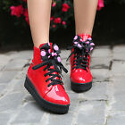 HOT Womens Shiny Patent Leather Flat Lace Sweet Bownot Ankle Boots Shoes UK 2-11