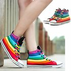 Women Stylish Multi Color Canvas Rainbow High Top Sneakers Sports Shoes Lace up