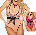 Sexy Lingerie Babydoll Deep V Gowns Lace Ribbon Underwear Bodysuit Teddy String