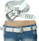 New Western 3 Row Diamante Crystal Buckle Cowgirl Cowboy RhineStone Belt