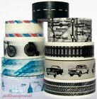 Washi Tape Paper Travel Journey Vintage Cars Distress Tyre Track Map Tissue Tape