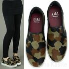 AnnaKastle Womens Camo-Print Calf Hair Leather Slip On Sneakers US 5 6 7 8