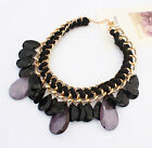 New Vintage Fashion Jewelry Weave Crystal Water Drop Pendant Bib Necklace