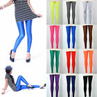 Neon Shiny Bright Leggings Fluorescent Glow Stretch Tights Pants 12 Colors UK