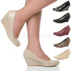 WOMENS LADIES MID LOW WEDGE HEEL BASIC ROUND TOE SMART WORK COURT SHOES SIZE