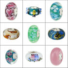 Authentic European Style Murano glass bead with 925 Sterling Silver tube charm