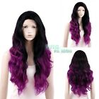 """Gamora Wig 20""""-28"""" Long Curly Black Mixed Magenta Lace Front Synthetic Wig"""