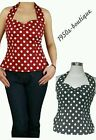 50s Vintage Retro Style Black Red Pinup Rockabilly Polka Shirt Halter Top N09