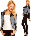 Womens Girls Stylish Denim Jacket with leather look inserts - UK 6.8.10.12.14
