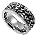 """Silver Chain Christian Men's Ring """"No Weapon"""" Isaiah 54:17"""