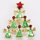 Gold Enamel Rhinestone ChristmasTree Theme Six Angels Brooches Pins X'mas Gift