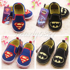 SZ 3-12 Months Cute Superman Batman Baby Boy Infant Crib Shoes Soft Sole Slip-on