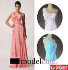 One Shoulder Floral Chiffon Prom Bridesmaid Wedding Maxi Dress Size AU6-20