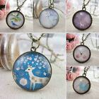 Vintage Retro Girls Women Lady Round Pendant Long Chain Sweater Necklace