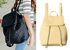 Womens Knitted Faux Leather Drawstring Backpacks Ladies Travel Sport Schoolbags