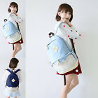 Girl Womens Retro Cute Lace Denim Jeans Campus School Book Bag Canvas Backpack K