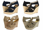 Michael Kors Womens Damita Wedge Navy Black Gold Mocha Platform Sandals Heels