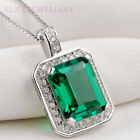 3ct Green Emerald White Sapphire Cz 925 Sterling Silver Pendant Chain Necklace