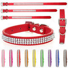 Dog Puppy Collar diamante Band Rhinestone PU Leather Pet Collar Tag Small Large