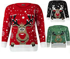 NEW WOMENS LADIES XMAS CHRISTMAS KNITTED RUDOLPH REINDEER LONG SLEEVES JUMPER