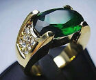 Bold Green Emerald Man & Lady 10 KT Yellow Gold Filled Ring 8/9/10/11/12 - w358
