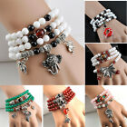 Lovely Natural Stone Bracelets Mix Color Beautiful Round Beads Alloy Pendents