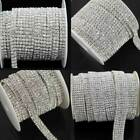 1 YARD 1-6 ROWS CAKE DECORATION BANDING CLEAR CRYSTAL DIAMANTE SEWING TRIMMING