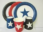 48PK  STAR PARTY PACK -INCLUDES 48 DINNER PLATES &  48 PAPER CUPS RED BLACK BLUE