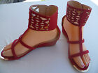 WOMEN'S GLADIATOR WEDGE SANDALS JILL SIZES: 5-10 RED
