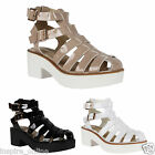 LADIES WOMENS CUT OUT CHUNKY STRAPPY PLATFORM HIGH BLOCK HEEL SANDALS SHOES SIZE