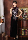 BL purple Chinese women's velvet long evening dress Cheongsam SZ:6.8.10.12.14