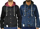 MENS DESIGNER ARRESTED DENIM FITTED HOODED JACKET VINTAGE COAT TRENDY RETRO PUNK