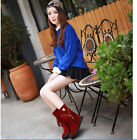 Women's suede faux velour flat sweet style round head middle tube winter boots