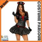 Womens Black Navy Sailor Fancy Dress Ladies Costume All Sizes