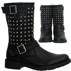 LADIES LOW HEEL WOMENS FASHION STUDDED MID CALF ZIP BUCKLE MILITARY BOOTS SIZE