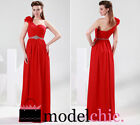 SALE Red Floral One Shoulder Chiffon Prom Bridesmaid Wedding Maxi Dress Size AU8
