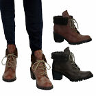 LADIES DIRTY ARMY WOMENS COMBAT LOW HEEL FLAT FUR COLLAR WINTER ANKLE BOOTS SIZE